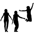 Silhouette of three young girls jumping with hands vector image vector image