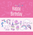 happy birthday holiday card with rainbow ice vector image