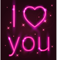 Valentine card with pink neon sign vector image