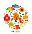 Autumn pattern background Set design element vector image