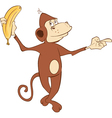 Cheerful monkey and banana Cartoon vector image