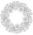 Floral doodles wreath in zentangle ornamental vector image