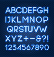glowing blue neon lights alphabet and numbers vector image