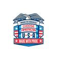 Made In America Patriotic Shield Retro vector image
