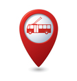 Map pointer with trolleybus icon vector image