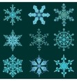 Set hand-drawn doodles color snowflake Zentangle vector image