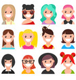 set of cartoon faces girls part 1 vector image