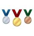 Set of gold silver and bronze medals vector image vector image