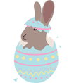 Cute Easter baby bunny hatched from one egg vector image
