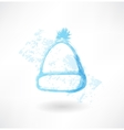 Winter hat grunge icon vector image