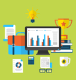 Flat icons of trendy business objects vector image vector image