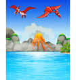 Dinosaurs flying over volcano vector image