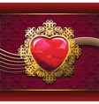 ruby heart in golden frame on floral background vector image