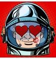 emoticon lover Emoji face man astronaut retro vector image