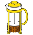 Glass French Press Pot with Coffee or Tea vector image