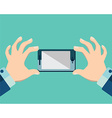 Hands holing smartphone blank screen Using mobile vector image