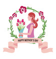 happy mothers day - woman bouquet flowers crown vector image