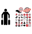 Passenger Baggage Flat Icon with Bonus vector image