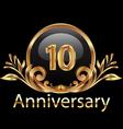 10 years anniversary birthday in gold vector image