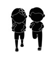 Girl and boy running vector image