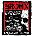 vintage motorcycle skull poster t shirt design vector image vector image