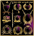 golden shield and laurel wreath vector image vector image