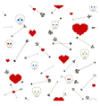 Seamless pattern with stylized skull heart and arr vector image