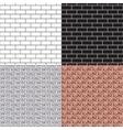 Brickwork seamless pattern set vector image