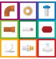 Flat icon plumbing set of industry drain conduit vector image
