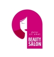 Beauty salon logo design template Girl vector image