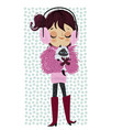 cute winter girl with cat vector image