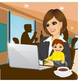 smiling mother working on laptop in cafe vector image