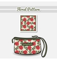 Cosmetic Bag Red Flowers vector image
