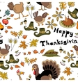 The pattern for the autumn holidays with turkey vector image