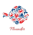 Seafood poster in shape of flounder fish symbol vector image
