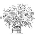 school building with doodles vector image