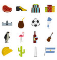 argentina travel items icons set in flat style vector image