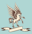 vintage pegasus with wings and ribbon vector image