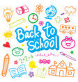 back to school draw kid cute cartoon design vector image