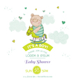 Baby Shower Card - with Baby Bear and Horse vector image vector image