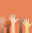 Hands raised up Concept of volunteerism vector image