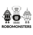 Contour and Silhouette Robots Set vector image