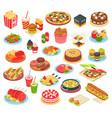 fast food isometric set vector image