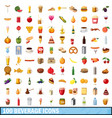100 beverage icons set cartoon style vector image