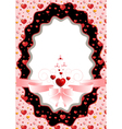 Oval frame with hearts and pink bow vector image