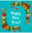 New Year tree holly and garland frame vector image vector image