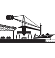 Unload raw materials from cargo ship vector image