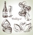 Wedding set hand drawn vector image vector image