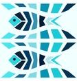Blue mosaic fish pattern seamless vector image
