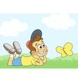 Boy and butterfly on meadow 2 vector image